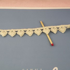 Galon Dentelle broderie coton rustique petits coeurs , 15 mm