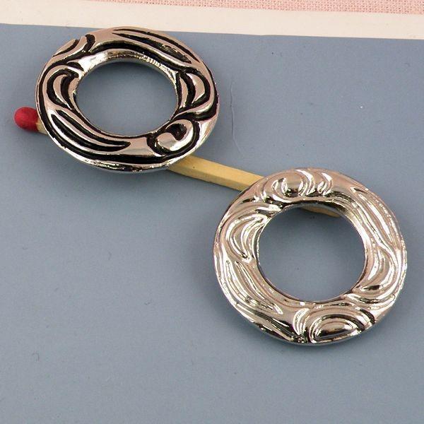 Anneau rond métal fournitures maroquinerie 5 cm.