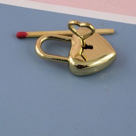 Cadenas coeur métal luxe miniature, fourniture maroquinerie, 4 cm