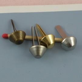 Pied de sac métal accessoire maroquinerie luxe, diamètre 1 cm