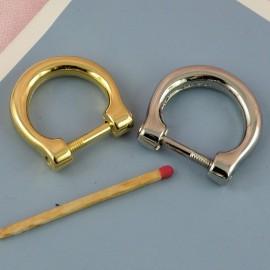 Demi anneau fer cheval, attache D, boucle métal fournitures maroquinerie 30 mm.