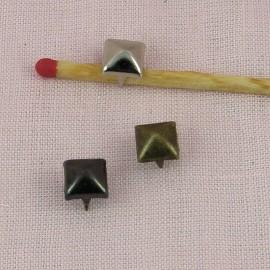 Clou carrés décoratif métal pointu, plot métal clou couture 7 mm. accessoire maroquinerie