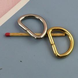 Demi anneau, attache D, boucle métal fournitures maroquinerie 26 mm.