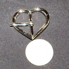 Boucle coeur métal ardillon, tige luxe, 3,5 cm.