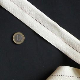 Sangle souple, galon surpiqûre 4 cm par 10 cm.
