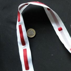 Sangle synthétique, galon tissé ruban rouge anse décoration sacs, 3 cm par 10 cm.