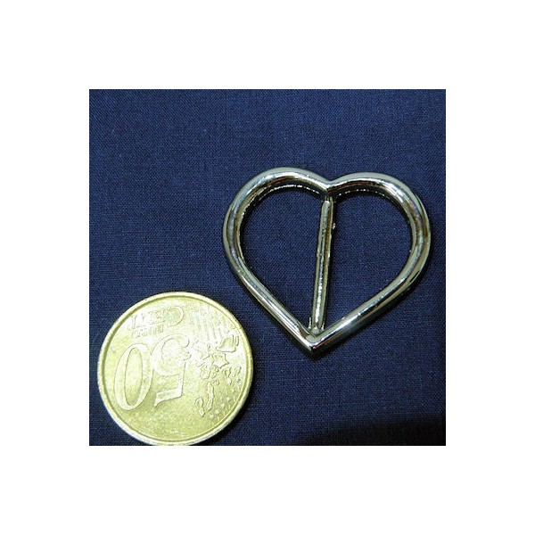 Boucle passant coeur métal uxe, 3,5 cm.