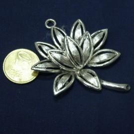 Pendentif nénuphar grosse fleur métal décoration bijou fournitures maroquinerie,