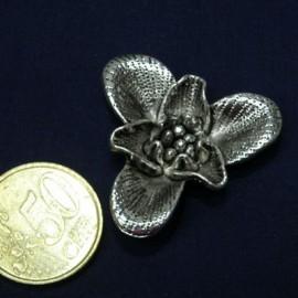 Pendentif Orchidée grosse fleur métal décoration fournitures maroquinerie,