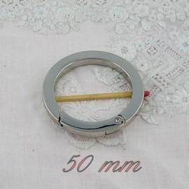 Anneau plat métal  fournitures maroquinerie 50 mm.