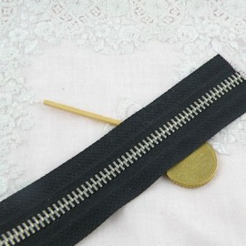 Fermeture noire glissière métal 6 mm sac maroquinerie, au mètre