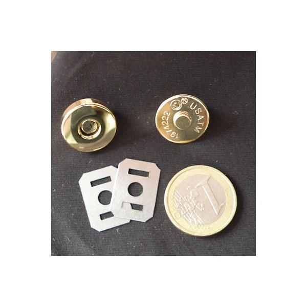 Fermeture magnétique pression aimantée fournitures maroquinerie 18 mm.