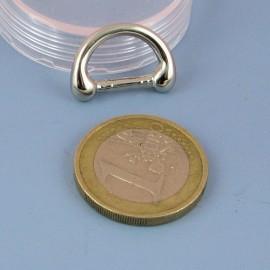 Demi anneau attache D boucle métal fournitures maroquinerie 2 cm.