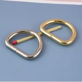 Demi anneau métal, attache D boucle  fournitures maroquinerie 35 mm.
