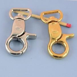 Mousqueton métallique luxe fournitures maroquinerie 42 mm.