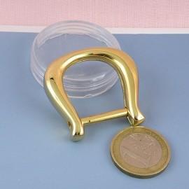 Demi anneau fer cheval, attache D, boucle métal fournitures maroquinerie 4 cm.