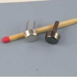 Petit Pied de sac cylindre métal accessoire maroquinerie luxe,  9 mm