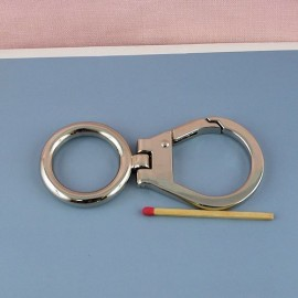 Swivel metal hook for bag, 9 cms, with ring