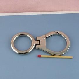 Mousqueton métallique luxe anneau. fournitures maroquinerie 9 cm,