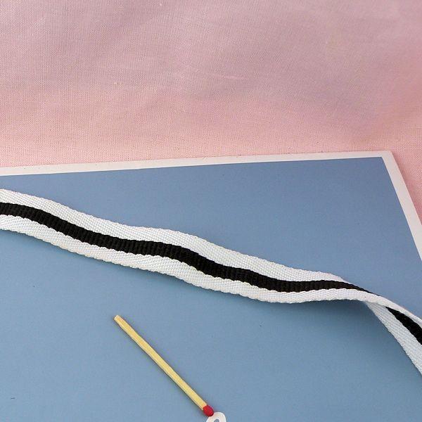 Sangle coton, galon épais bande noire anse sacs, 2 cm large par 10 cm