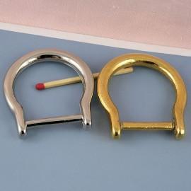 Demi anneau fer cheval, attache D, boucle métal fournitures maroquinerie 5 cm.