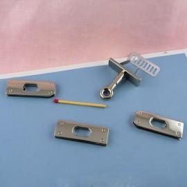 Metallic clasp handbag 5 parts, Hermes style, 6 cms.