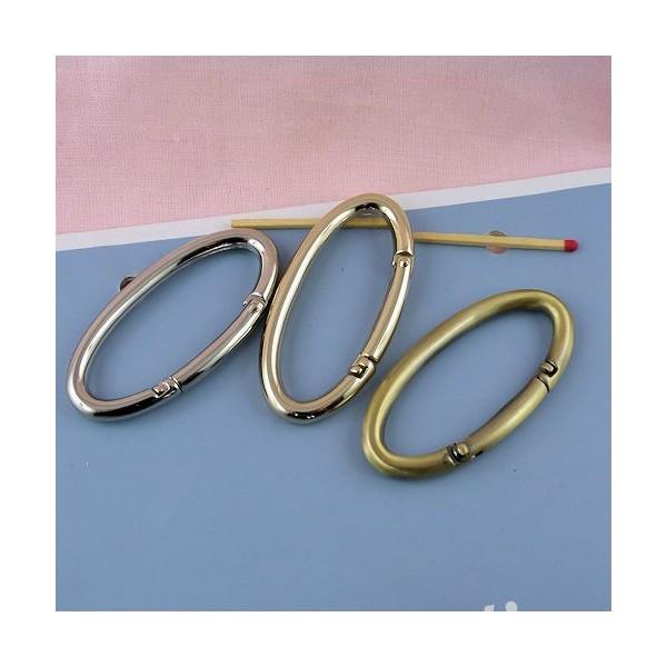 Anneau ovale métal grande taille 7 cm.