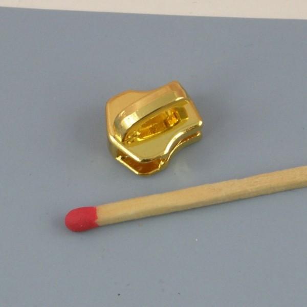 Curseur métallique doré luxe pour fermeture glissière métal sac,  fourniture maroquinerie.