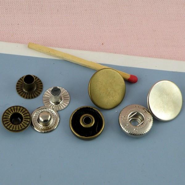 Metallic snaps fastener 15 mm