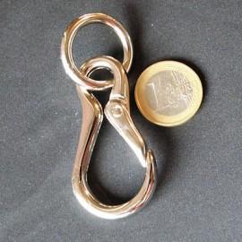 Mousqueton métallique luxe anneau. fournitures maroquinerie 7 cm,