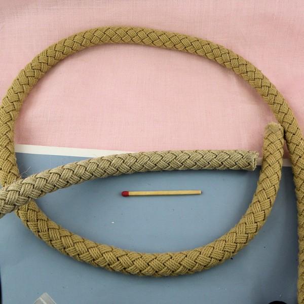 Cordelière tressée coton, anse sac 13 mm par 10 cm.