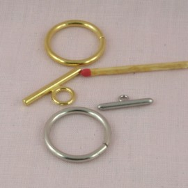 Closure round ring toggle claps two parts, 3 cms