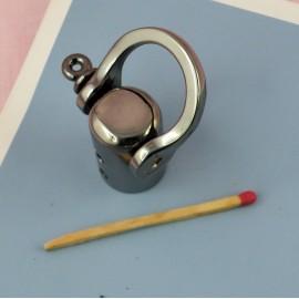 Anneau vis & attache corde 4 cm fournitures maroquinerie.