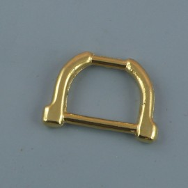 Demi anneau étrier, attache D, boucle métal fournitures maroquinerie 23 mm.