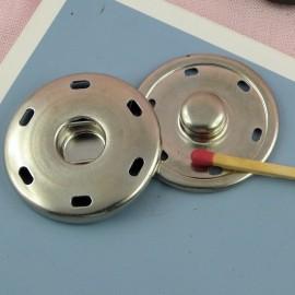Bouton pression argenté géant à coudre,  42 mm, 4,2 cm.
