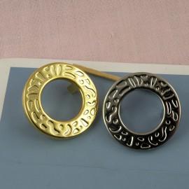 Oeillet gravé rond métal à pattes 35 mm.
