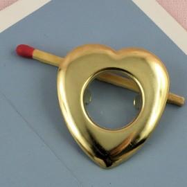 Oeillet métal à pattes coeur 4 cm.