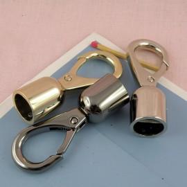 Mousqueton métallique luxe attache corde 15 mm fournitures maroquinerie.