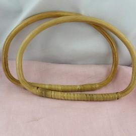 Paire Anses sac maroquinerie en bambou 20 cm