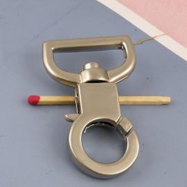 Mousqueton métallique luxe fournitures maroquinerie 50 mm.