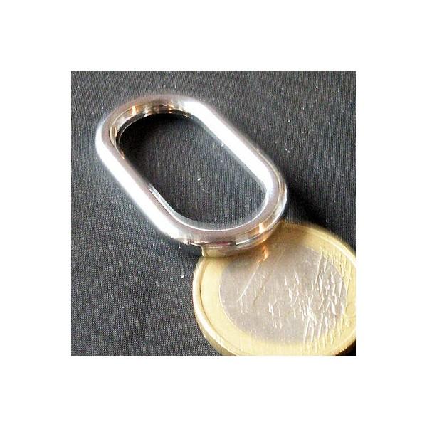 Anneau ovale rectangulaire métal  maroquinerie 25 mm.