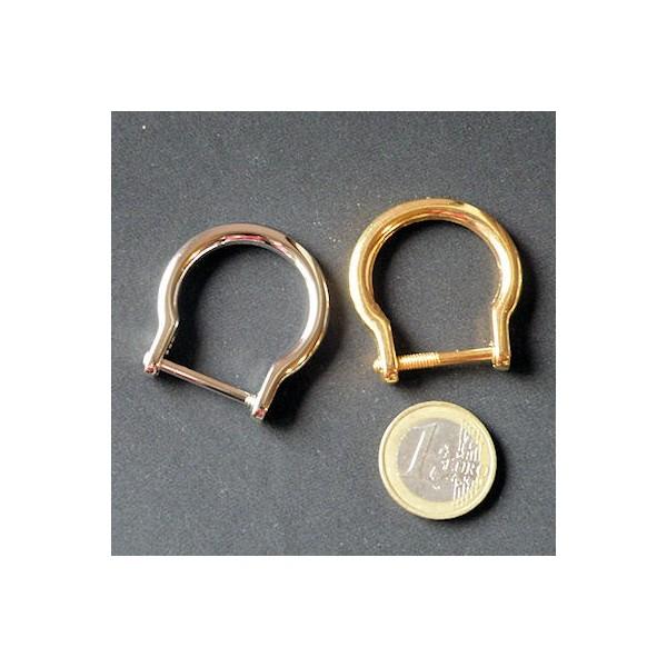 Demi anneau fer cheval, attache D, boucle métal fournitures maroquinerie 35 mm.