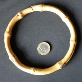 Bamboo round bag purse  handle 13 cms.
