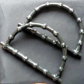 Paire Anses sac maroquinerie façon bambou 18 cm