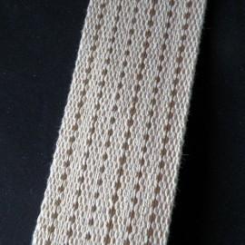 Sangle épaisse maroquinerie, six surpiqûres 5 cm par 10 cm.