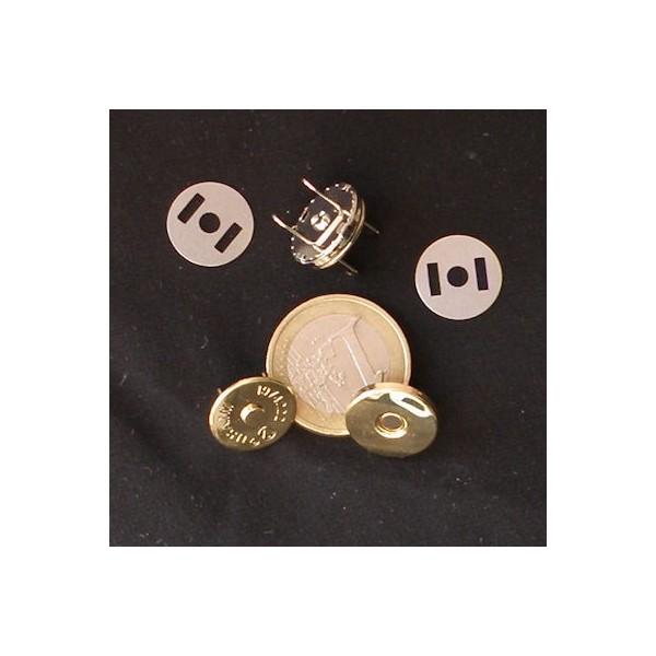 Fermeture magnétique pression aimantée fournitures maroquinerie 15 mm épaisses.