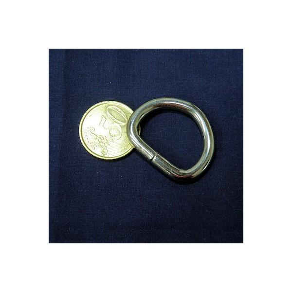 Demi anneau métal, attache D, boucle  fournitures maroquinerie 35 mm.