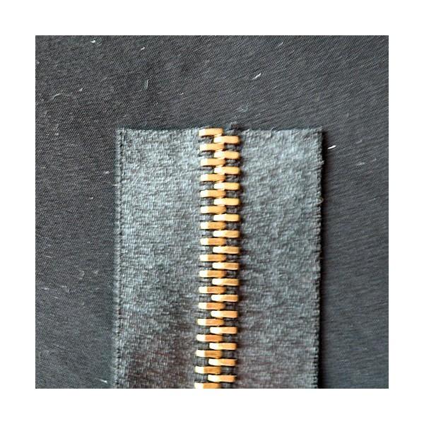 Fermeture satin noire luxe glissière métal 6 mm sac maroquinerie, au mètre