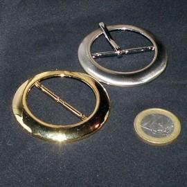 Boucle ronde à passant métal , tige luxe, 5 cm.