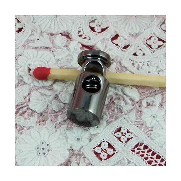 Arrêt deux trous en plastique cordon 4 mm, stop cordelière fourniture maroquinerie